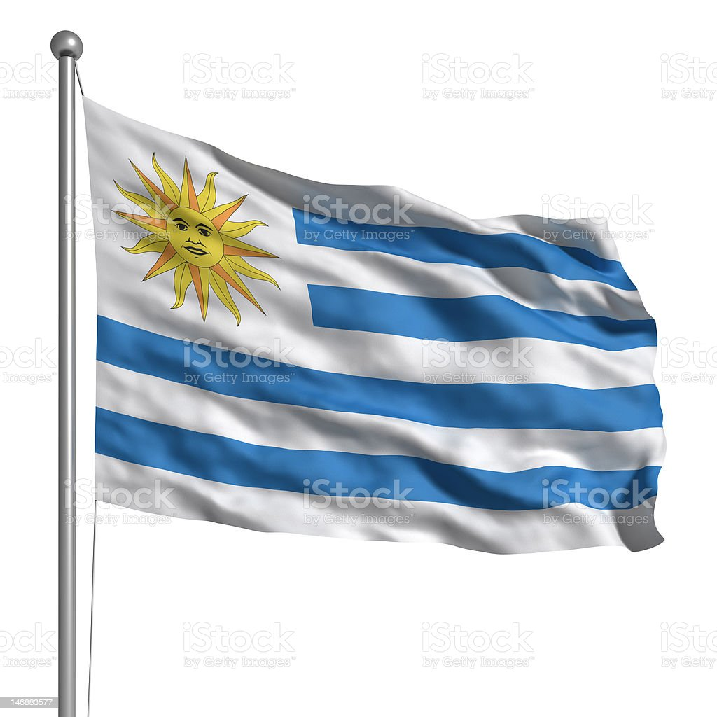 Flag of Uruguay (Isolated) stock photo