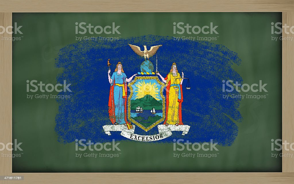 flag of us state new york on blackboard royalty-free stock photo