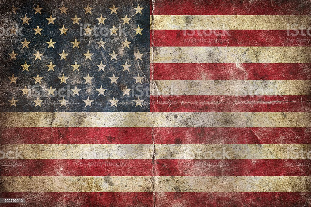 Flag of USA, on a vintage folded sheet of paper stock photo