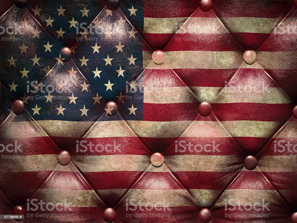 Flag of USA on capitone checkered coach leather decoration stock photo