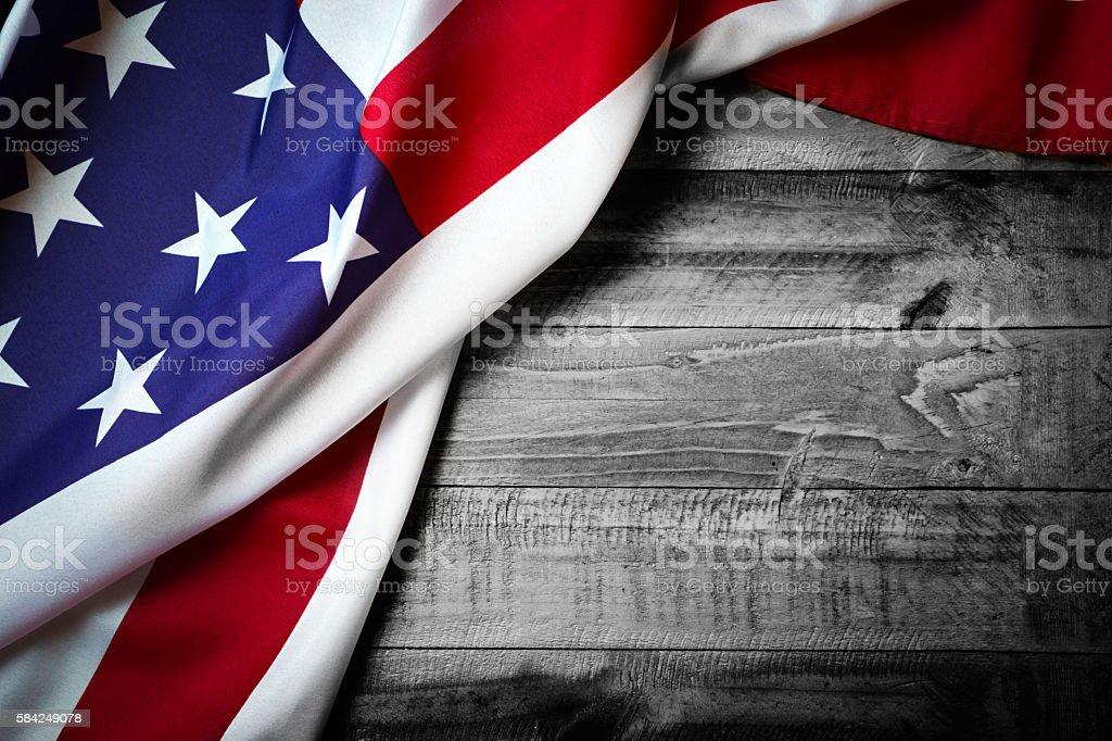 Flag of USA on grunge wood background stock photo