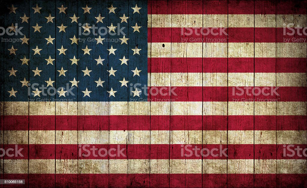 Flag of USA, painted on a grunge plank stock photo