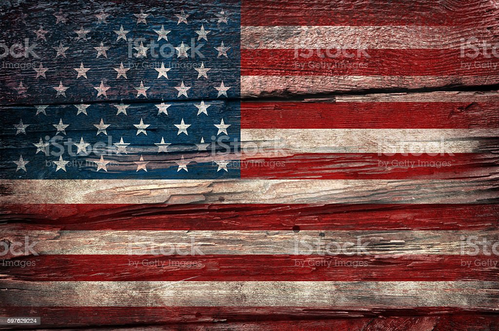 Flag of USA, painted on a grunge plank, stock photo