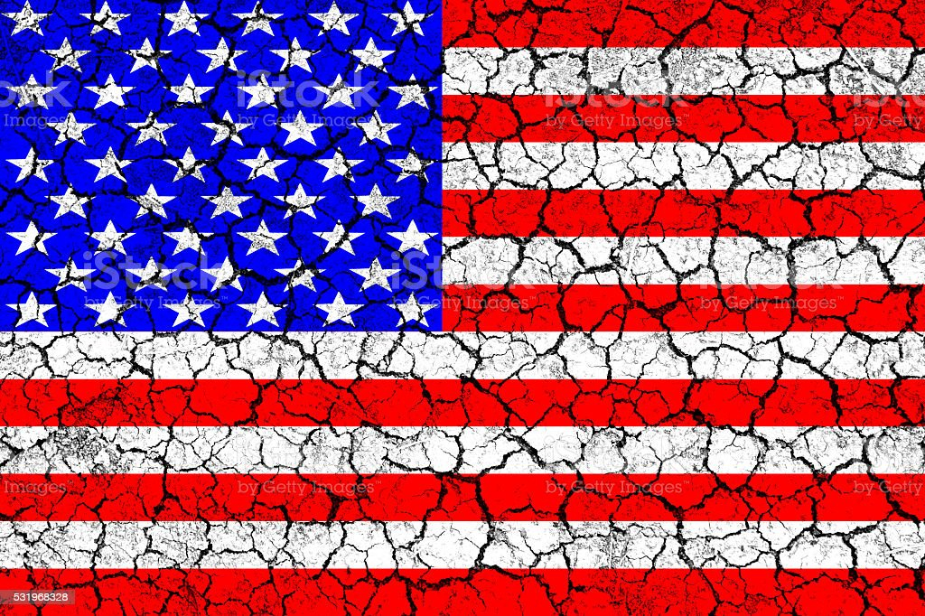Flag of USA painted on cracked wall. Political concept. stock photo