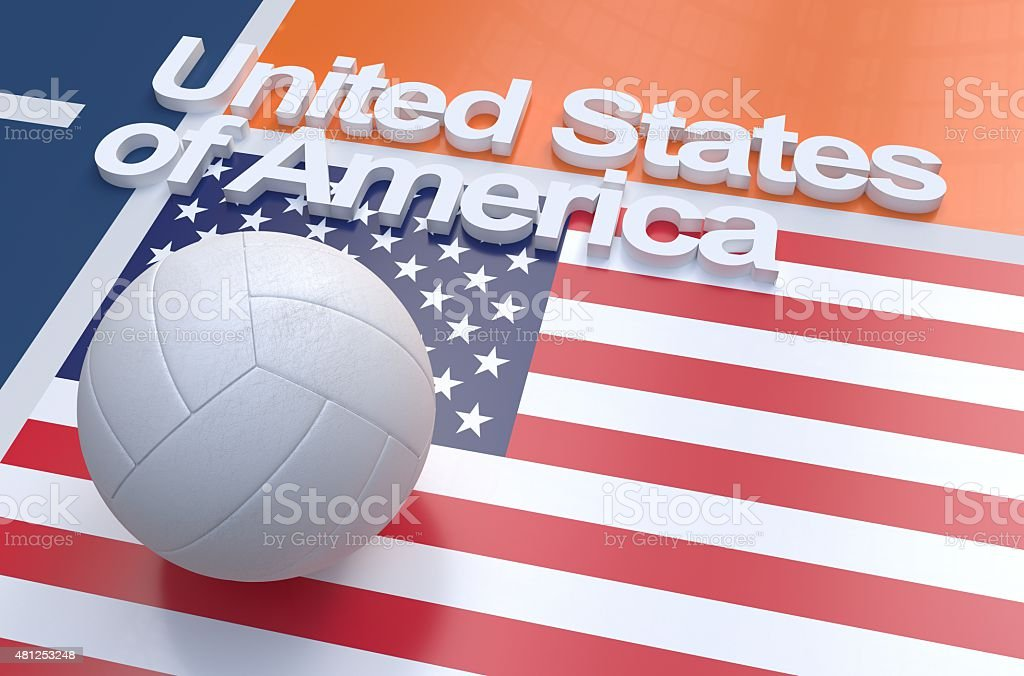 Flag of USA with championship volleyball ball stock photo