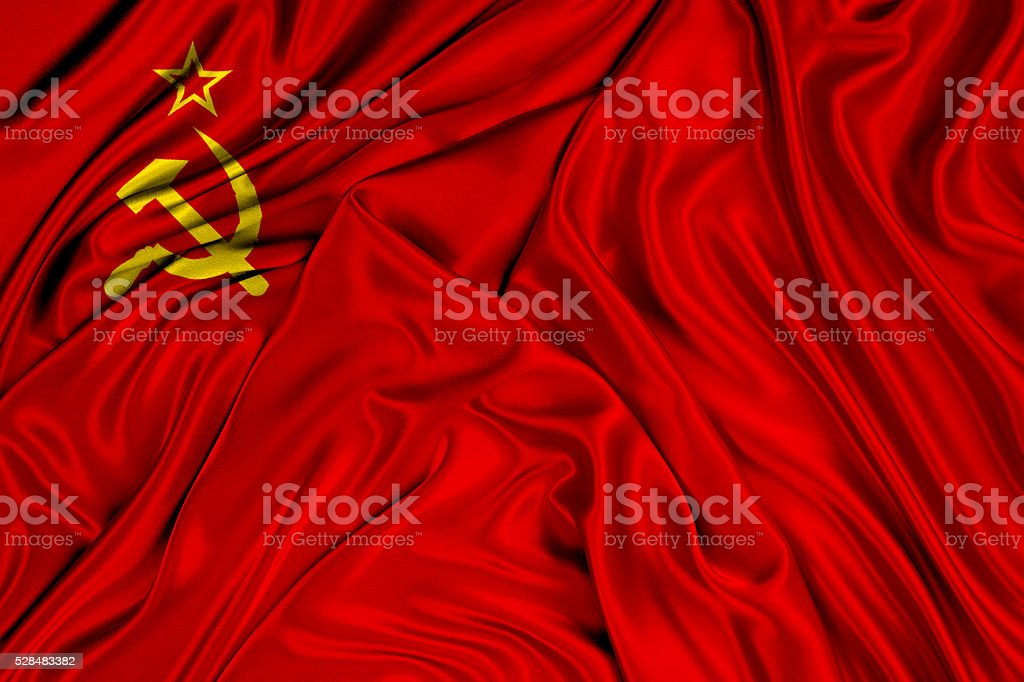 Flag of USSR 3d, silk textured stock photo