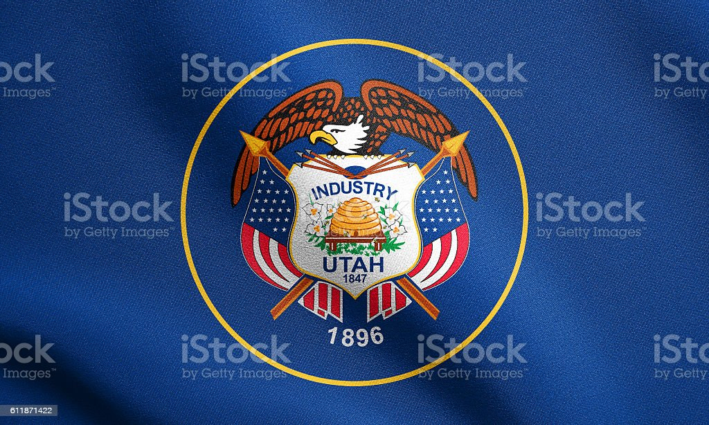 Flag of Utah waving with fabric texture stock photo