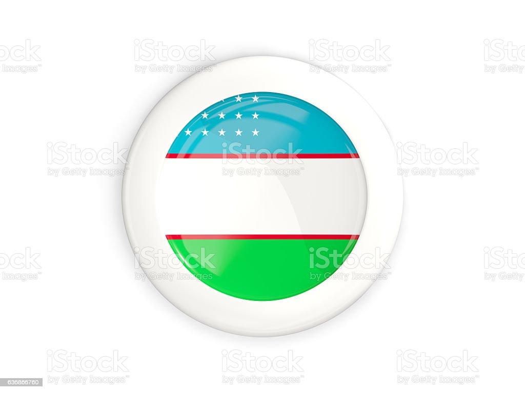 Flag of uzbekistan, glossy round button stock photo