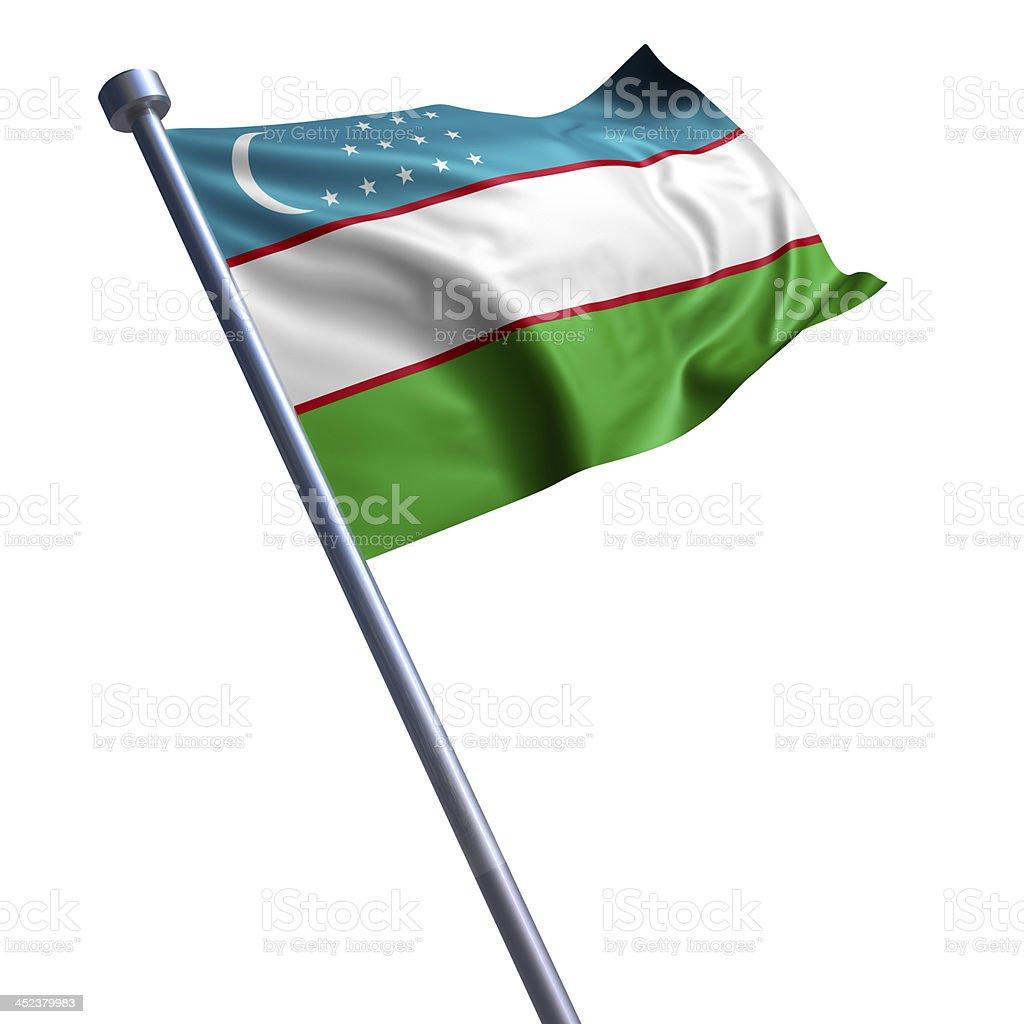 Flag of Uzbekistan isolated on white stock photo