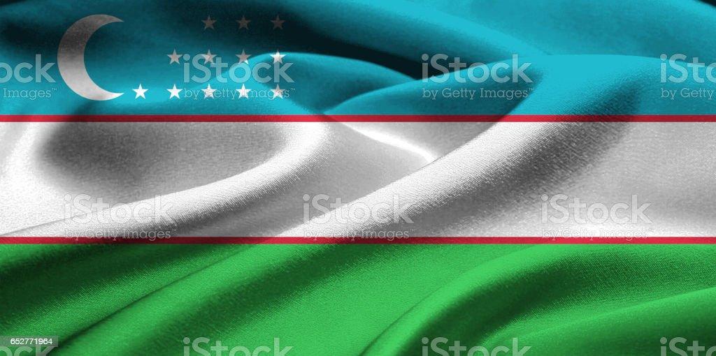 Flag of Uzbekistan stock photo