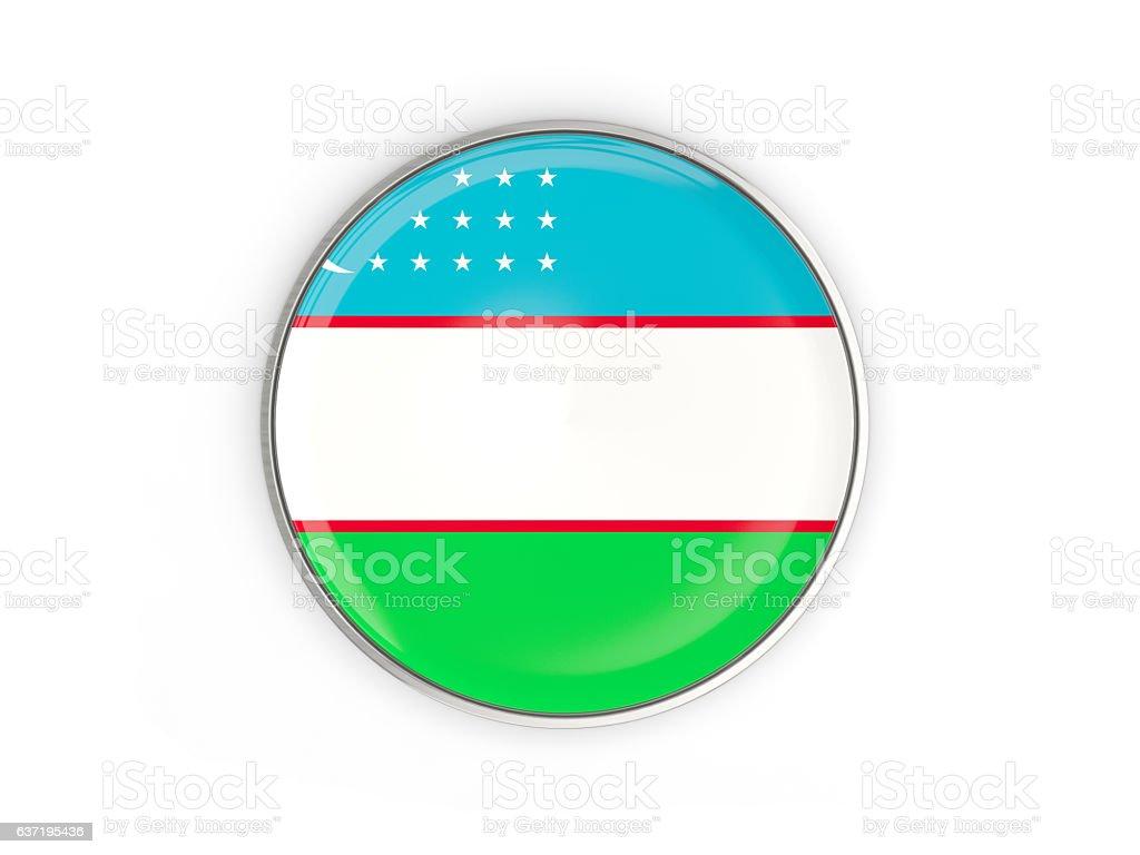 Flag of uzbekistan, round icon with metal frame stock photo