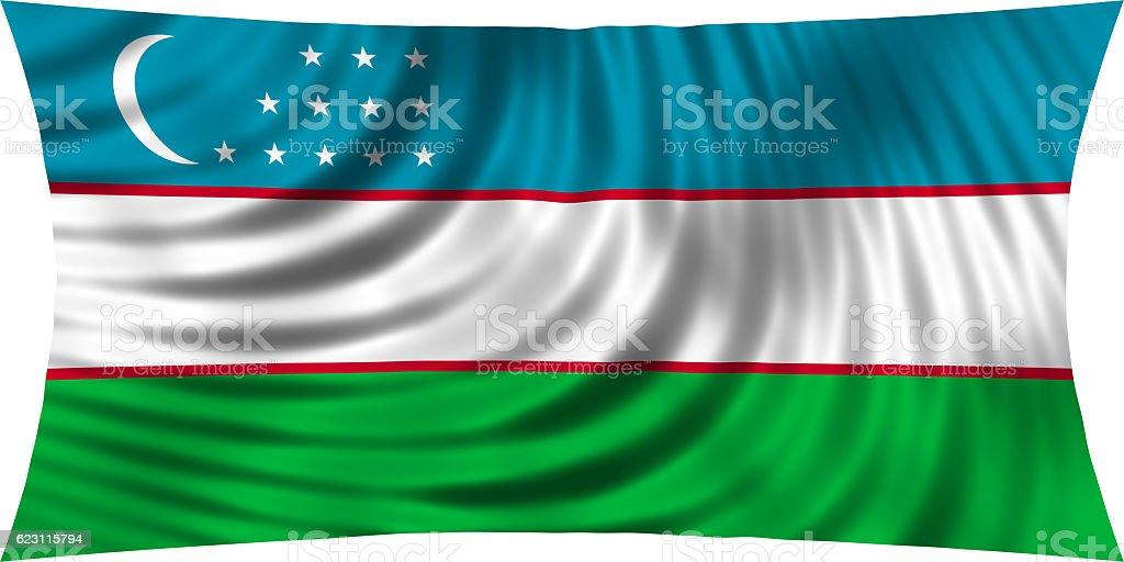 Flag of Uzbekistan waving isolated on white stock photo