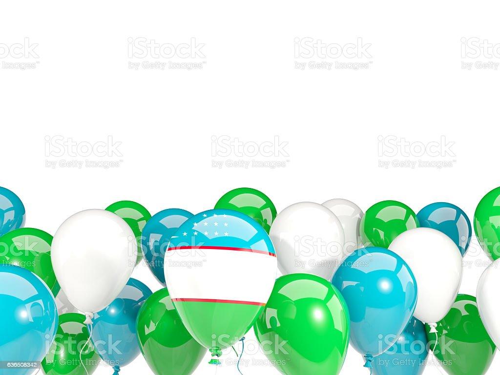 Flag of uzbekistan with balloons stock photo
