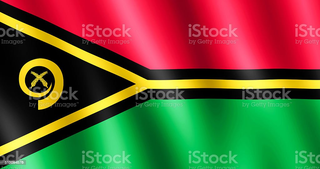 Flag of Vanuatu waving in the wind stock photo