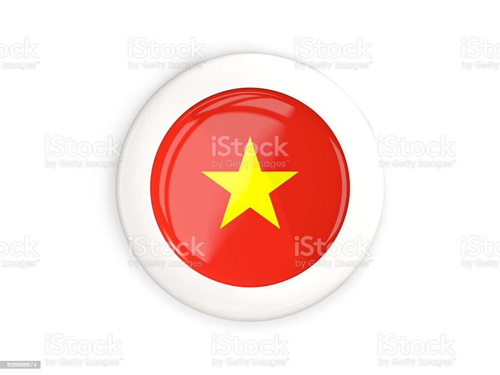 Flag of vietnam, glossy round button stock photo