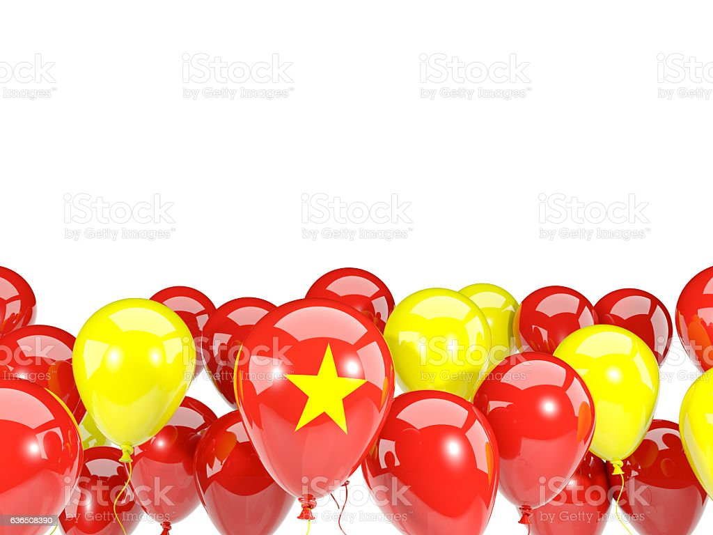 Flag of vietnam with balloons stock photo