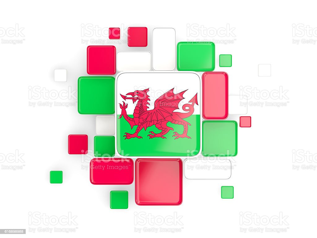 Flag of wales, mosaic background stock photo