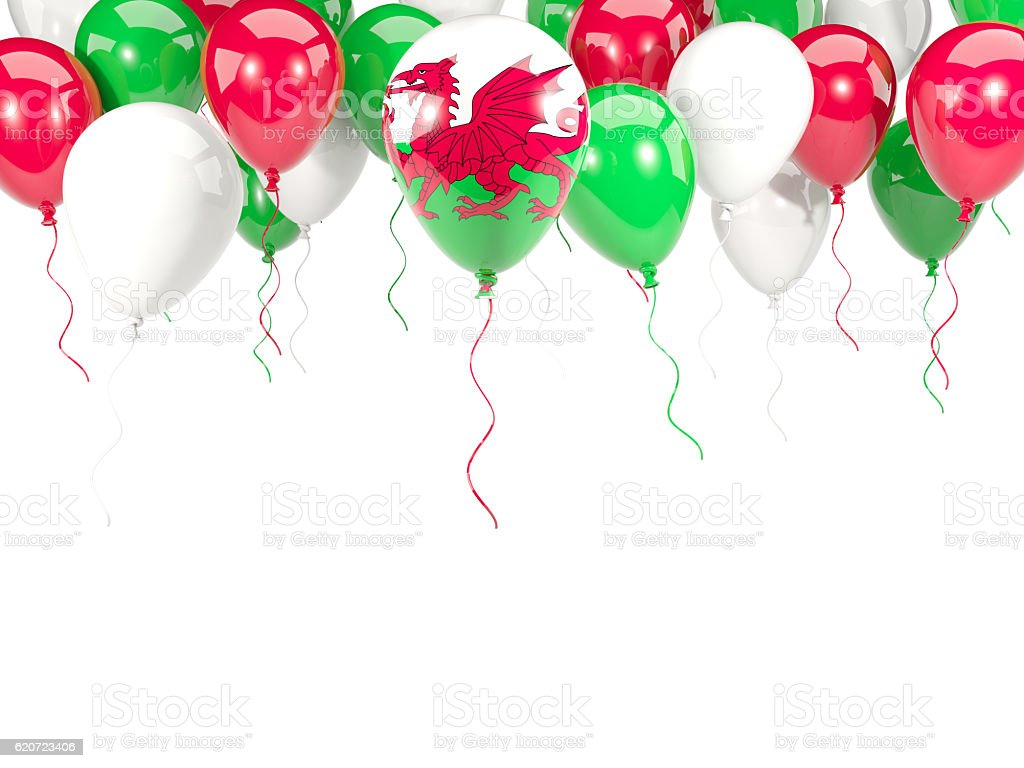 Flag of wales on balloons stock photo