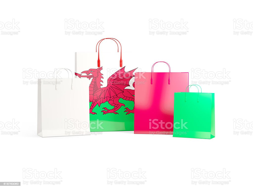 Flag of wales on shopping bags stock photo