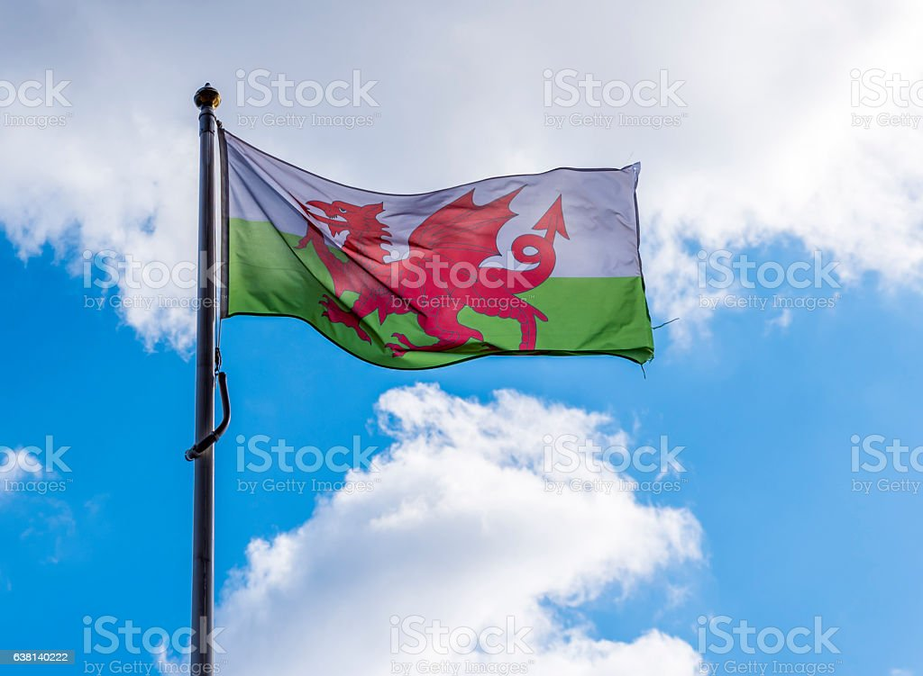Flag of Wales on the mast stock photo
