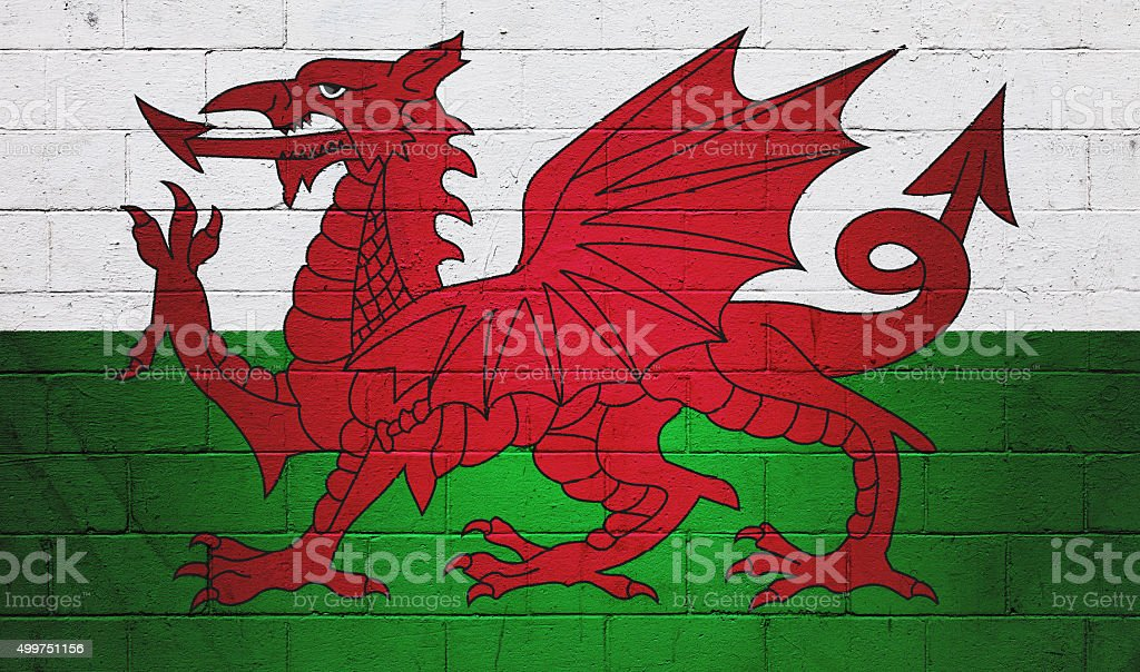 Flag of Wales painted on a wall stock photo