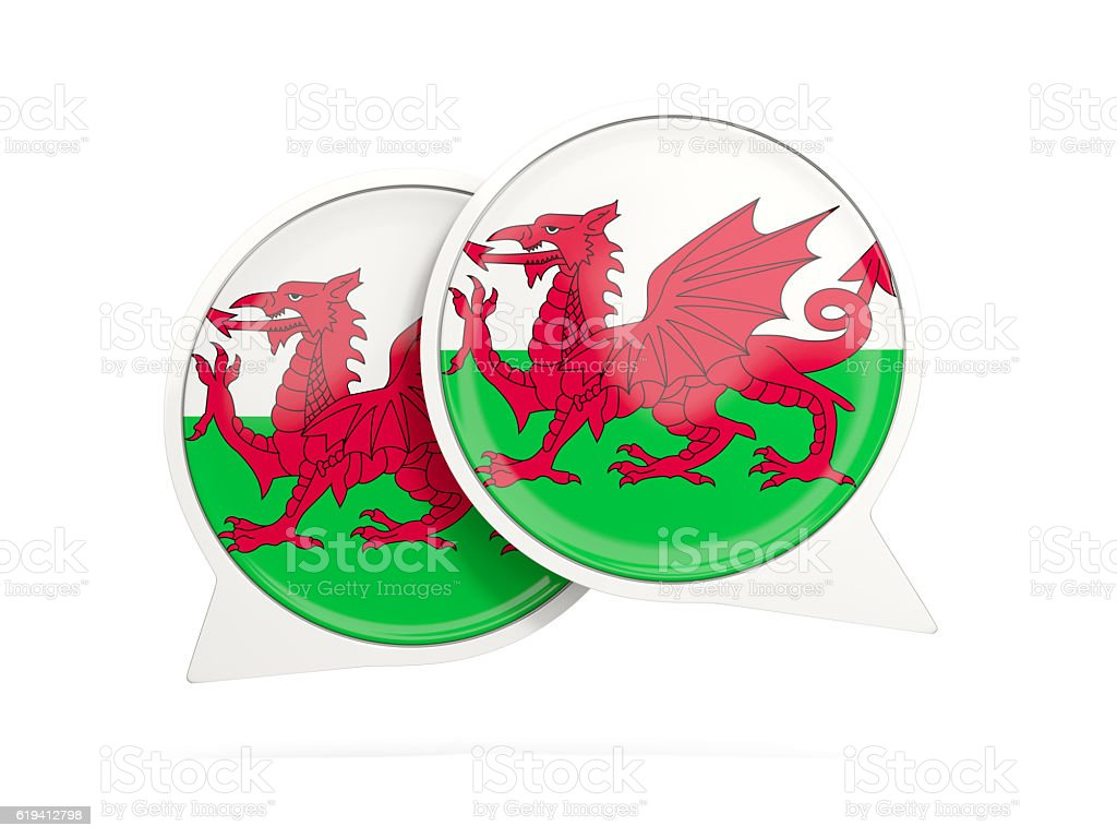 Flag of wales, round chat icon stock photo