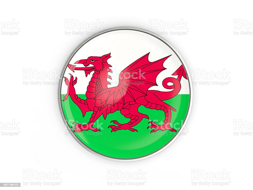 Flag of wales, round icon with metal frame stock photo