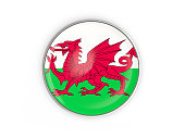Flag of wales, round icon with metal frame