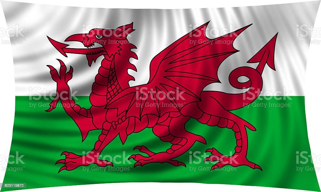 Flag of Wales waving isolated on white vector art illustration