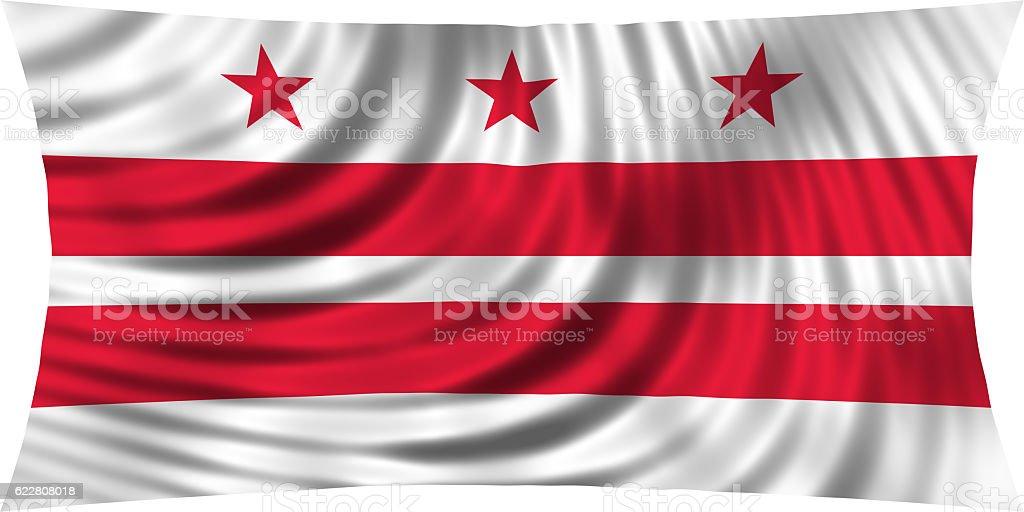 Flag of Washington, D.C. waving isolated on white stock photo