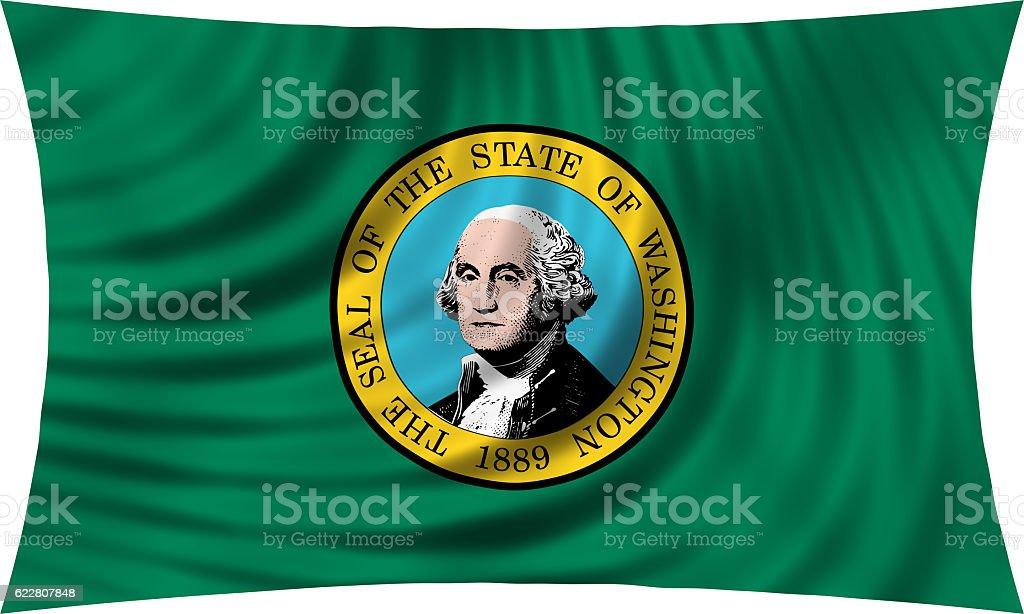 Flag of Washington state waving isolated on white stock photo