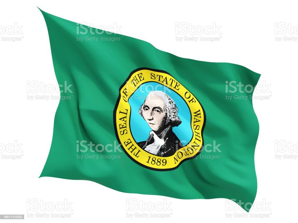 Flag of washington, US state fluttering flag stock photo