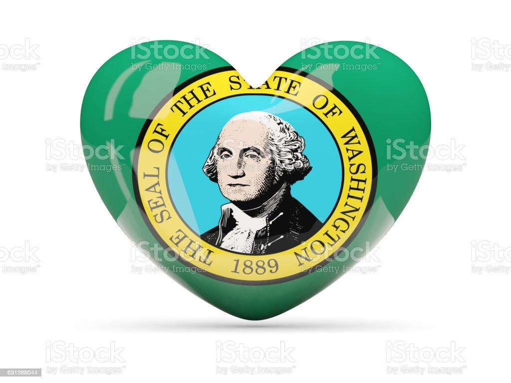 Flag of washington, US state heart icon stock photo