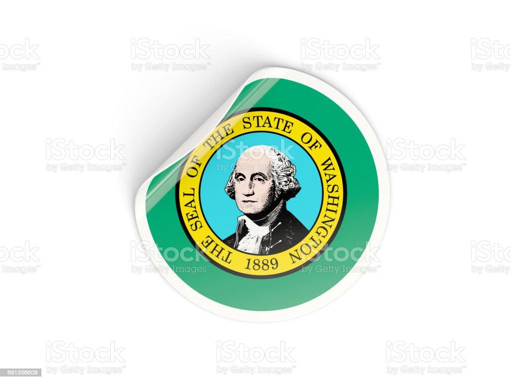 Flag of washington, US state round sticker stock photo