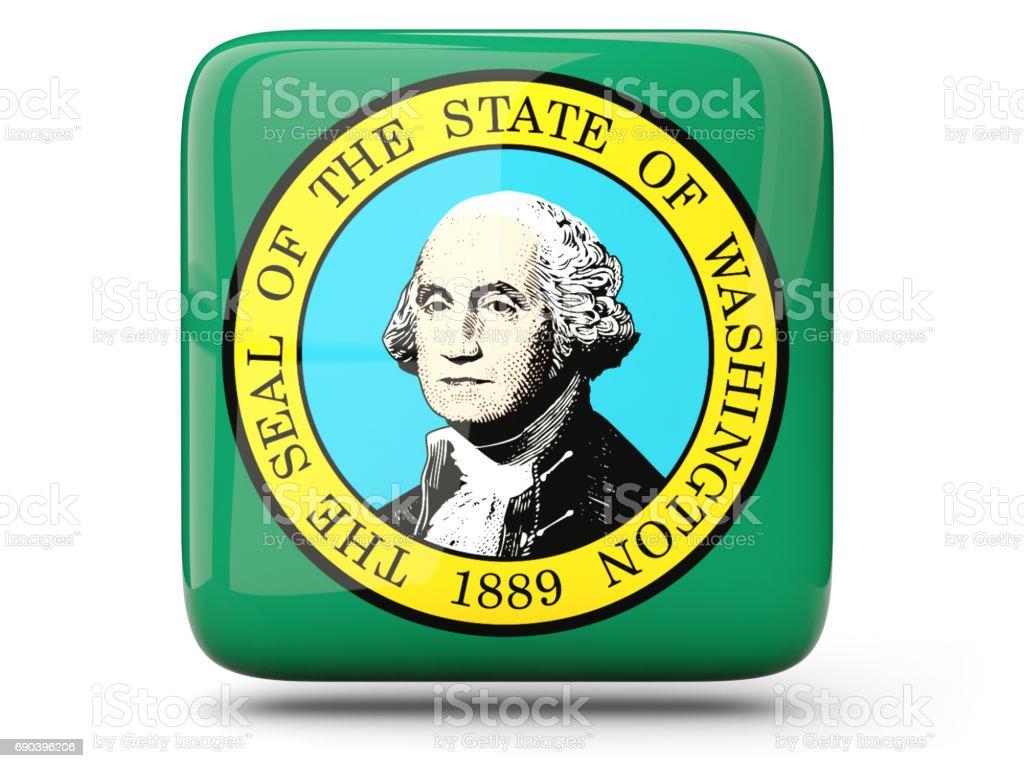 Flag of washington, US state square icon stock photo