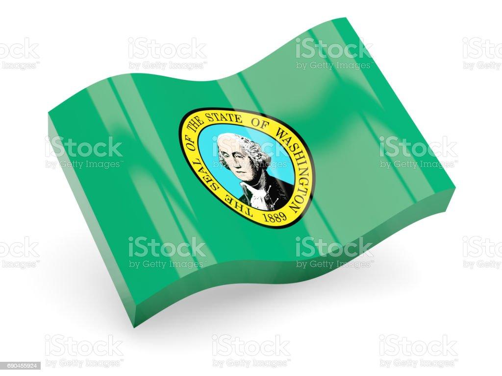 Flag of washington, US state wave icon stock photo