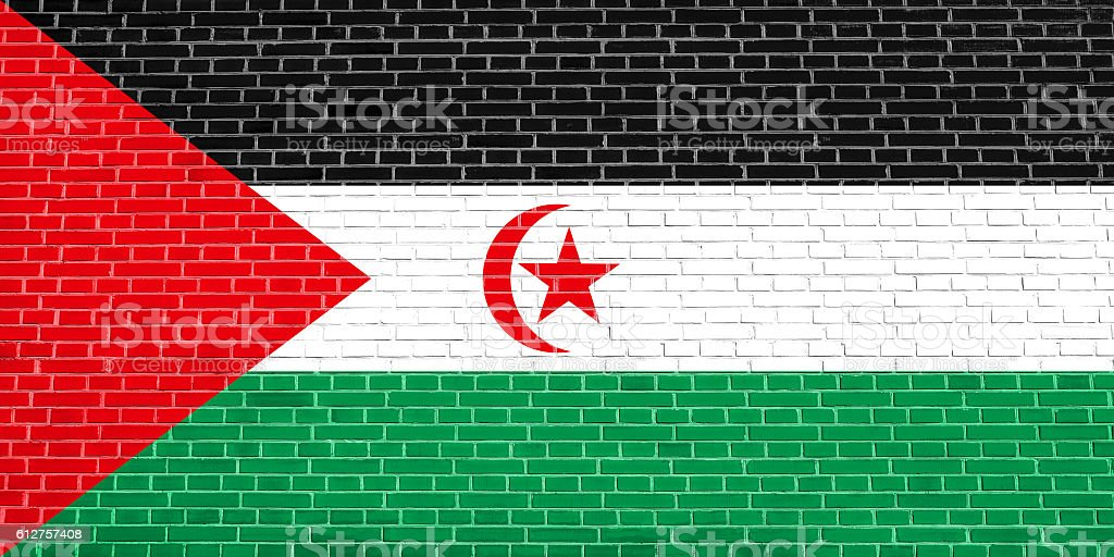 Flag of Western Sahara brick wall texture backdrop stock photo
