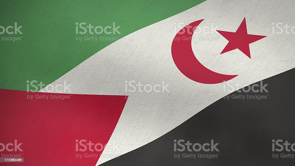 3D flag of Western Sahara stock photo