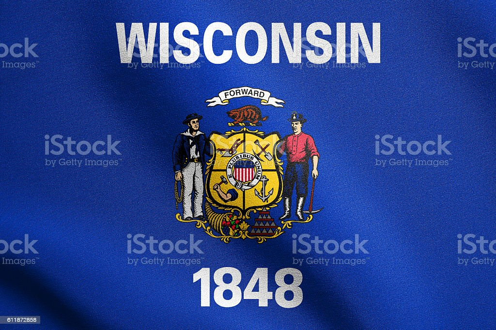 Flag of Wisconsin waving with fabric texture stock photo