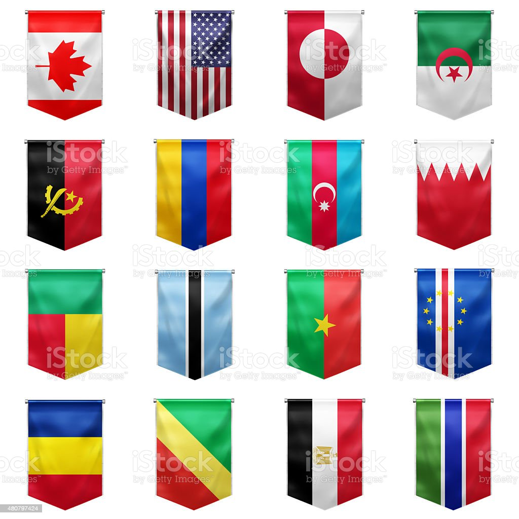 Flag of world_01 stock photo