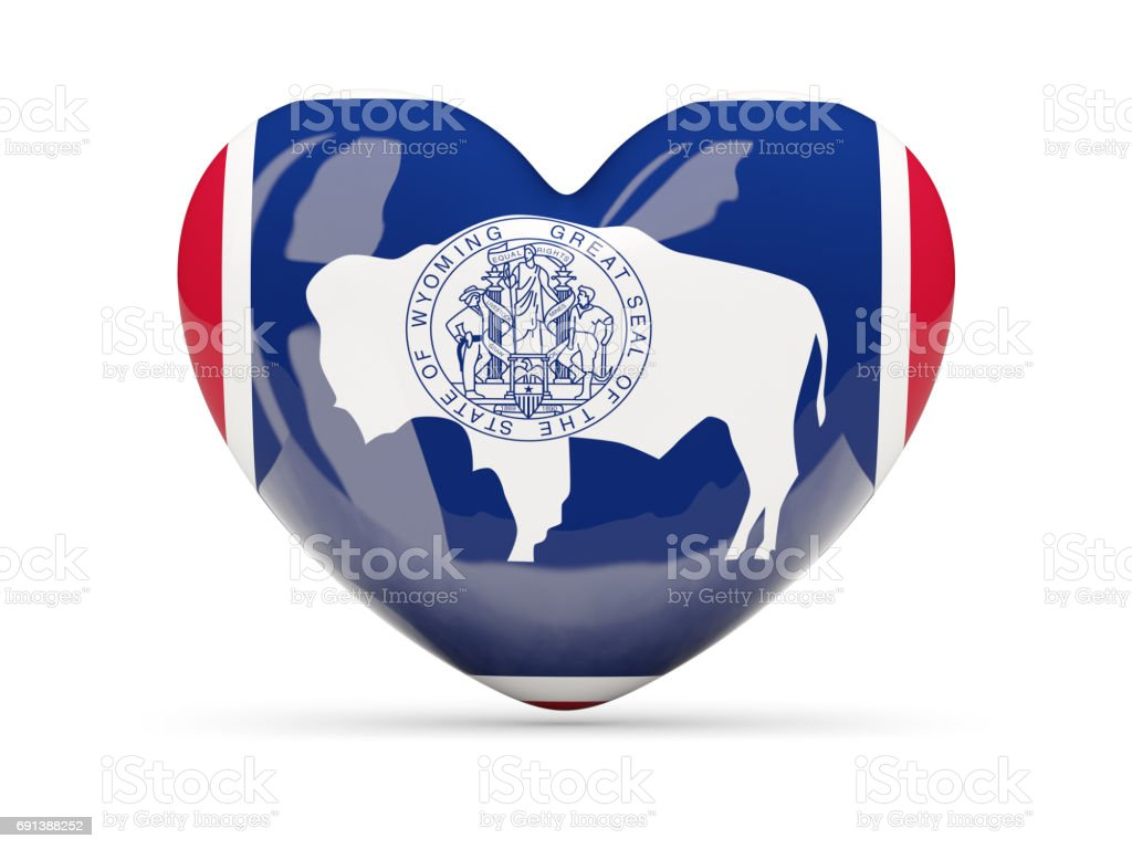 Flag of wyoming, US state heart icon stock photo