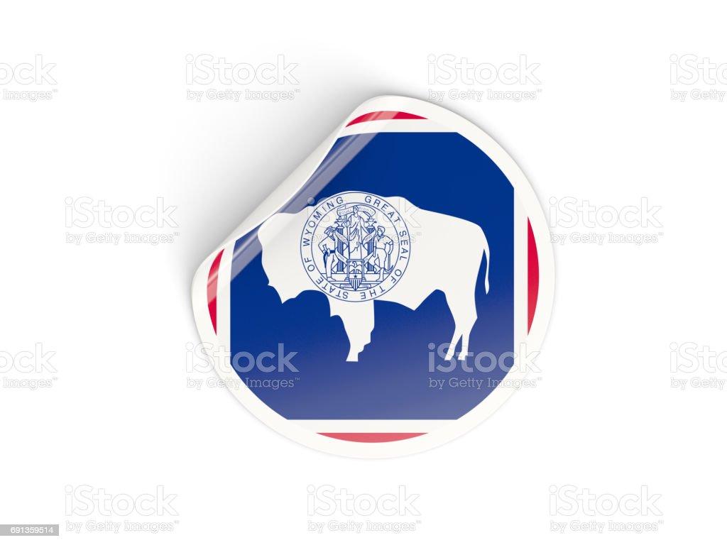 Flag of wyoming, US state round sticker stock photo