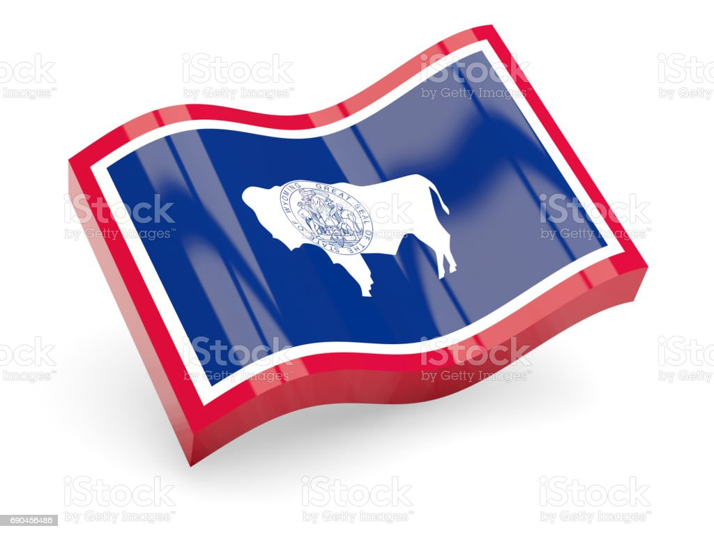 Flag of wyoming, US state wave icon stock photo
