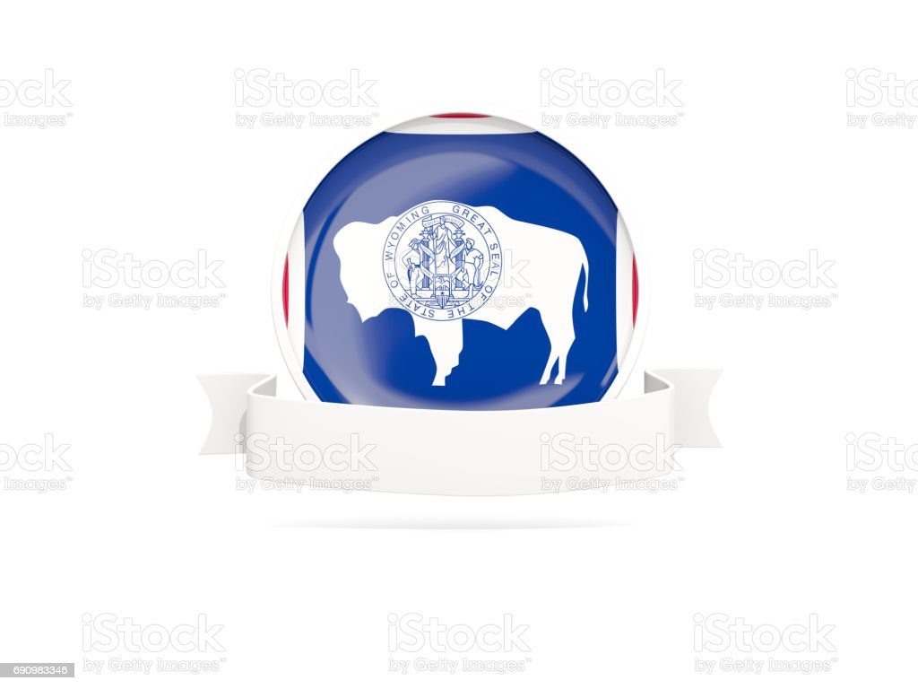 Flag of wyoming with banner, US state round icon stock photo