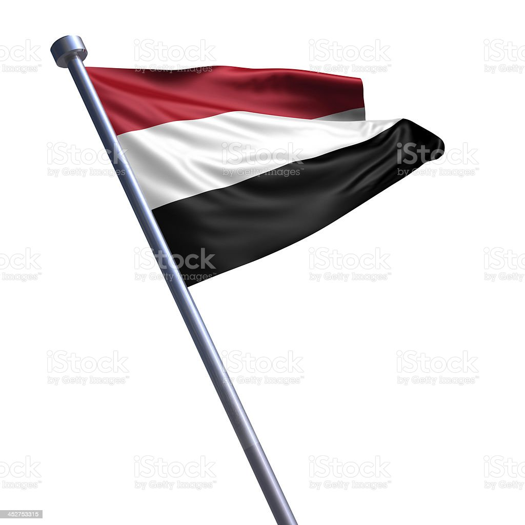 Flag of Yemen isolated on white stock photo