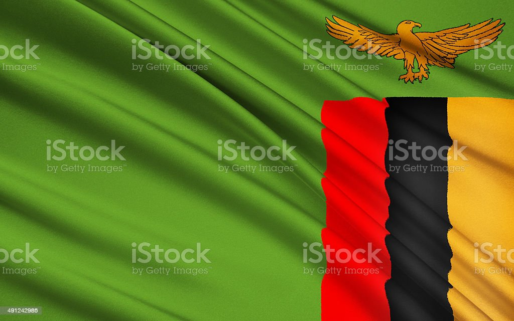 Flag of Zambia stock photo