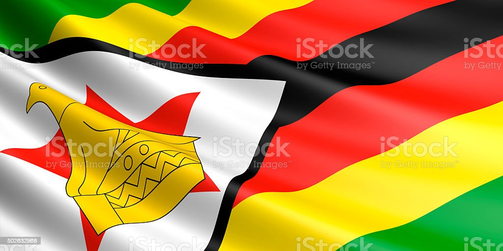 Flag of Zimbabwe waving in the wind. royalty-free stock photo