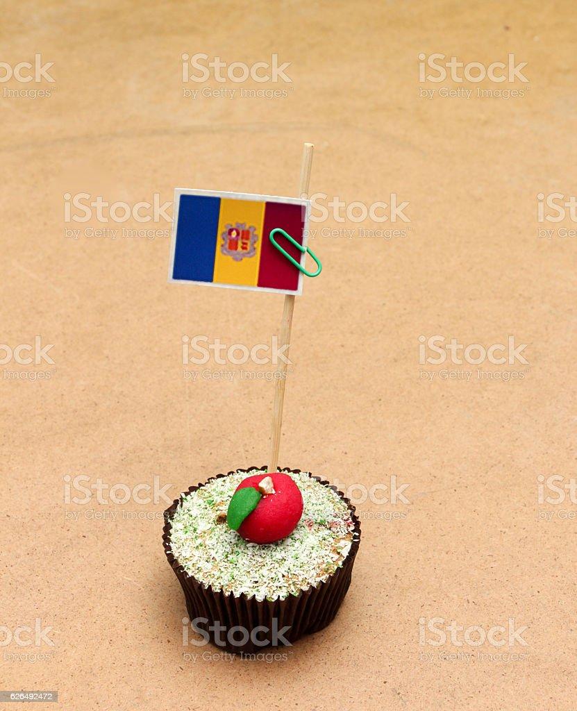 flag on a apple cupcake , andora stock photo