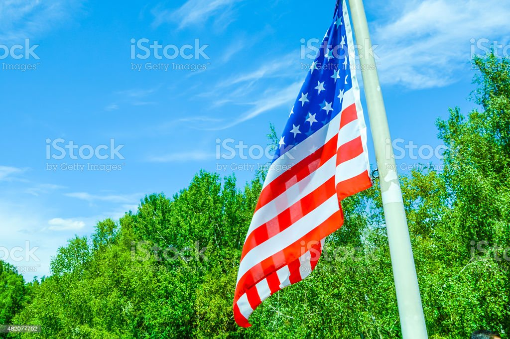 USA flag on a boat stock photo