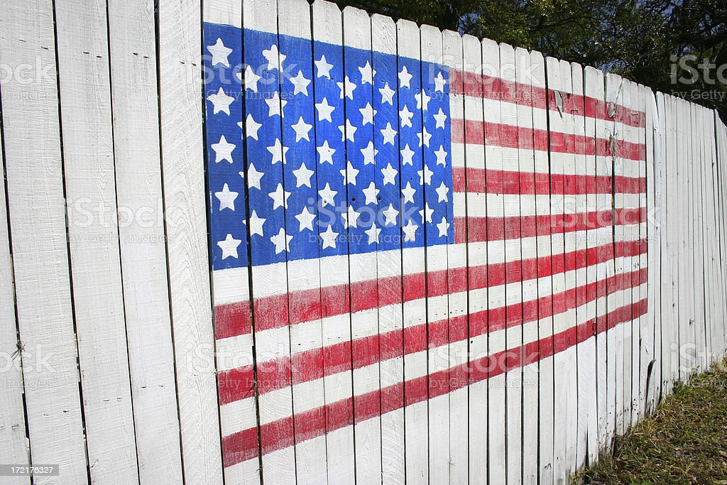 Flag on a Fence royalty-free stock photo